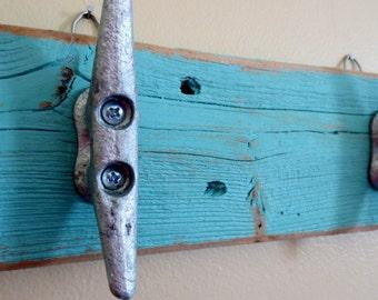 Turquoise Boat Cleat Hooks Nautical Decor Recycled Wood Ocean Beach Decor Coastal Decor Key Hooks Beach Towel Hooks Upcycled Shabby Chic