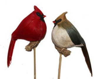 6 pc 4 1/2 Inch Male and Female Cardinal on Perch (Dharma & Greg), Feather Birds, Feather Cardinals, Christmas Cardinals,