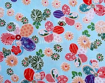 C2003C - 1 meter  Cotton Fabric - Flowers on Blue (145cm width)