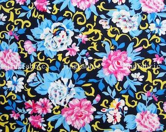 C2005A - 1 meter  Cotton Fabric - Flowers on black (145cm width)