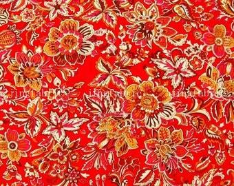 C2012B - 1 meter  Cotton Fabric - Flowers (red) (145cm width)