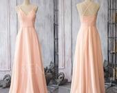 2016 Peach Chiffon Bridesmaid dress, Chiffon Wedding dress, Spaghetti Strap Party dress, Long Formal dress floor length (F089)-Renzrags