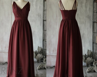 2016 V neck Wine Bridesmaid dress Long, Red Formal dress Ruched, Backless Wedding dress, Long Party dress, Prom dress floor length (F068)