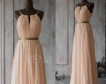 Long Bridesmaid Dress , Peach Prom Dress, Chiffon Wedding Dress, Formal Dress, Mix And Match Party Dress Floor Length (F066A1)-Renzrags