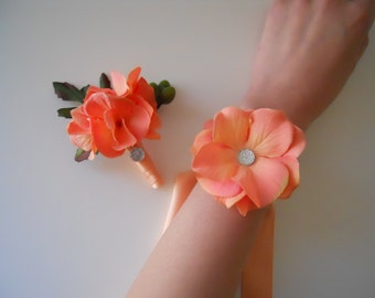 Peach Orange Hydrangea Petals Wrist Corsages and Matching Bout