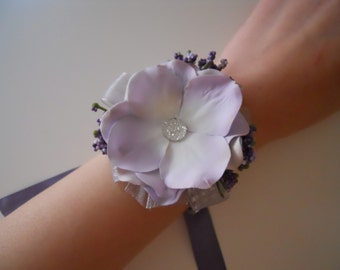 Lalic, Lavender Hydrangea Wrist Corsages with Rhinestone Accent