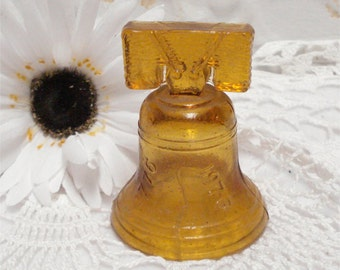 Vintage Liberty Bell Amber 1776-1976 3 Inch