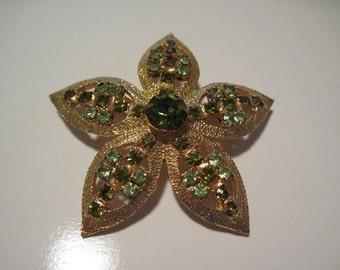 Vintage Gold Flower Prong Set Emerald Green Rhinestones Brooch Pin