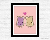 Peanut Butter Loves Jelly Illustration Print by Buck and Libby We Belong Together series