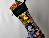 Day of the Dead Christmas Stocking with Piping, Standard or Personalized, Alt Xmas, Ships Next Business Day as a Last Minute Gift