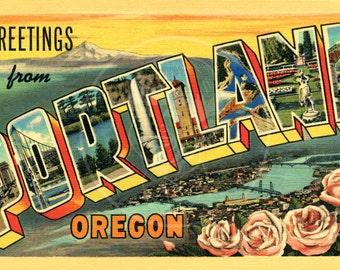 Greetings from Portland, OR (style 2) - 10x16 Giclée Canvas Print of a Vintage Postcard