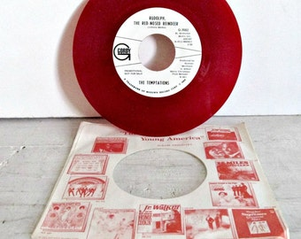 Promotional 45 Record, Rudolph the Red Nose Reindeer, theTemptations, Motown Records, Red 45s from 1968, Christmas gifts