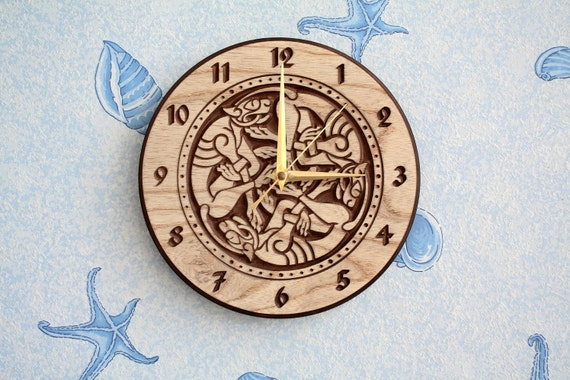 "Wood carved wall clock ""Celtic dogs"""