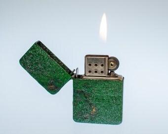 Working Hand Painted vintage Park Sherman Windproof Pocket Lighter - Frankenlighter #120