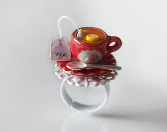 Marie Antoinette Ring - Tea Party Ring - Red Ring - Food Jewelry