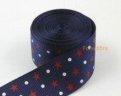 4 Yards 1 Inch Dark Blue Star Dot Printed Ribbon Hair Ribbon Grosgrain Ribbon (LWD49)