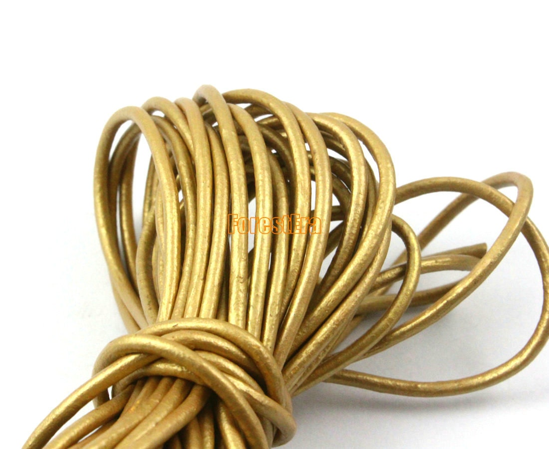5 yards 2mm leather cord gold leather belt leather cord