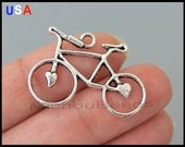 5 BICYCLE Connector Charms - Antiqued Silver Tibetan Style Bike w/ Heart Charm Link - Instant shipping - USA Wholesale Charms - 5996