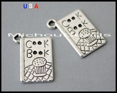 1 COOKBOOK Charm Pendant - 19mm Kitchen Chef Cooking Recipe Book Message Metal Charm - Instant Shipping - USa Wholesale Charm - 6053