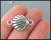 5 Sea SHELL Connector Link Charms - 23mm Silver Scallop Shell Ocean Beach Sand Vacation Charms - Instant Ship - USA Discount Charms - 6302