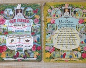 Two Antique Religious Paper Ephemera With The Lords Prayers