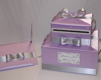 Lilac-Silver Wedding Card Box with matching Guest Book and Pen-any color can be made