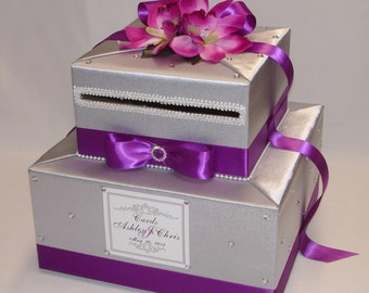 Silver/Royal Orchid/Magenta Wedding Card Box-any color can be made