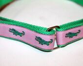 Girls Pink Alligator Belt Velcro D Ring Belt