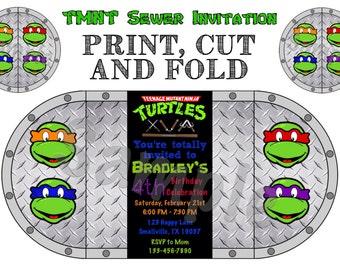 Teenage Mutant Ninja Turtle Sewer Birthday Invitation ( NT06)