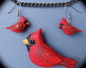 Polymer Clay  Male Cardinal Bird Earrings and Pin Set