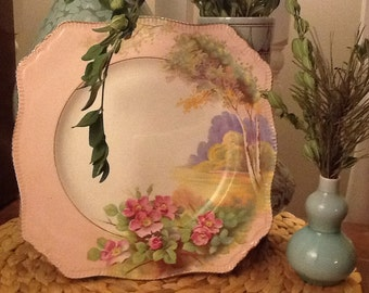 Antique Royal Winton Summertime Pattern Plate Wild Rose Pattern Pink Made in England 1940s