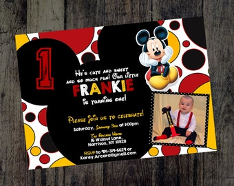 First Birthday Invitations - Mickey Mouse Kids Birthday - Birthday Invitations - Birthday for Kids