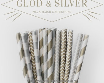 25 PAPER STRAW with free printable DIY Toppers - Gold & Silver Set