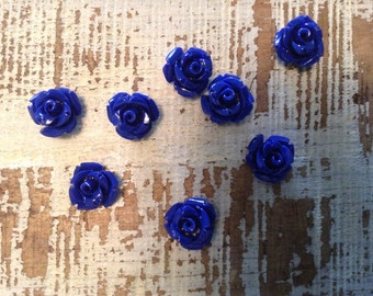 Navy Blue Poly-Resin Flowers