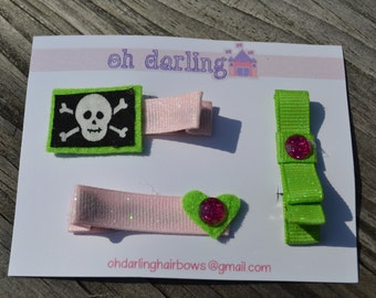 Girls, Cross Bones, Lime Green, and Pale Pink, Hair Clip Set