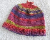 Bright Colorful Handknit Cotton Hat, Chemo Cap, One of a Kind, Ready to Ship