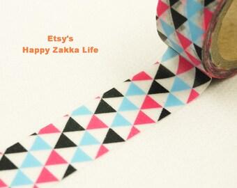 Japanese Washi Masking Tape - Pink Blue Black Triangle - 5.5 yards