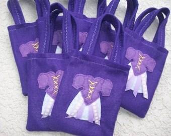 RAPUNZEL PARTY/ Felt part bags/girls/purple/ set of 10 bags/party supplies/party favor