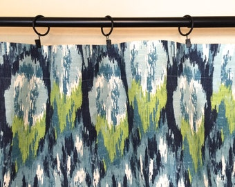 10% OFF SALE Ikat Drapery Curtain Panels. Choose from 11 Sizes. Frost Blue, Lime Green, Teal. Window Treatments. Premier Prints Ikat Craze