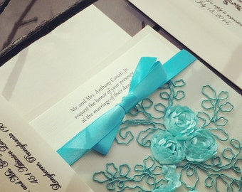 French Lace Sleeve Wedding Invitation in Turquoise - 9 colors