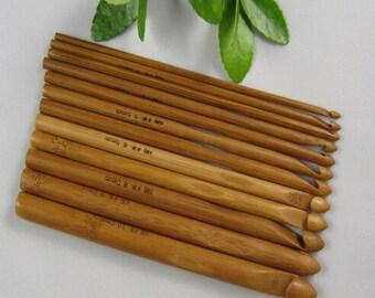 12pcs Carbonized Bamboo Crochet Knitting Hook Rag Rug Needles Hooks 3.0-10mm
