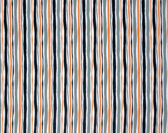 CLEARANCE - Black, Gray, Orange and White Striped Fabric - Happy Halloween by David Walker from Free Spirit - 17 Inches - End of Bolt