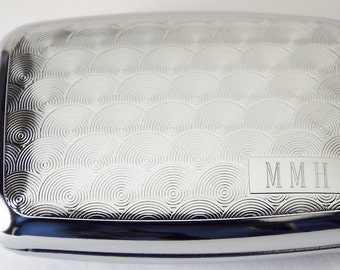 Pill Box Custom Engraved Personalized Spirals Design Silver Pill Box -Hand Engraved