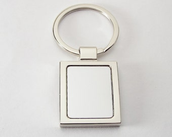 Personalized Custom Engraved Key Chain High Polish Silver Square Keychain  - Hand Engraved