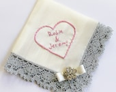 Personalized Wedding Handkerchief, Bride Hanky Bridal Shower Gift, Mother of the Bride, Something Blue, Silver Ivory Satin Lace Handkerchief