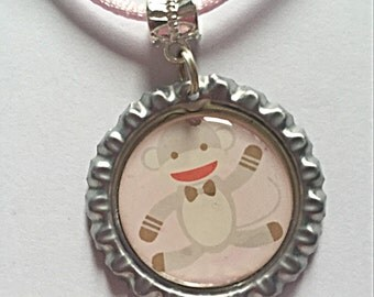 Cute Monkey Necklace - Bottlecap Necklace - Pink Cotton Necklace - Monkey Jewelry - Gift For Girls - SALE
