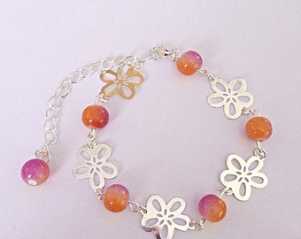 Flower Bead Bracelet - Silver Bracelet - Glass Bead Bracelet