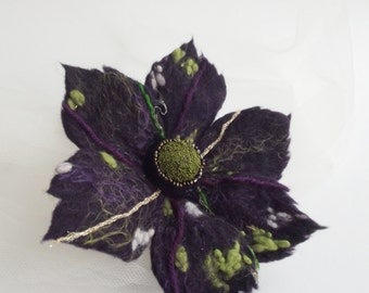 ON SALE-Felted Flower Brooch, Hair Clip, Wool Felt Jewelry,Dark Purple & Green