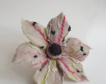 ON SALE-Felted Flower Brooch, Hair Clip, Wool Felt Jewelry,Candy Color Flower