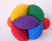 Amish Puzzle Ball - Sensory Learning Toy - Montessori Toy Ball - Baby Clutch Ball - Primary Colors Soft Fabric Ball - Learn to Throw Ball.